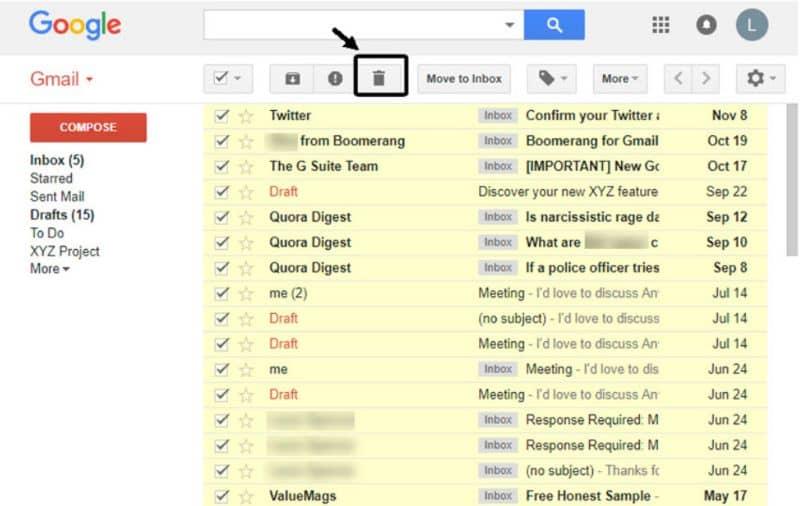 Excluir e-mails do Gmail