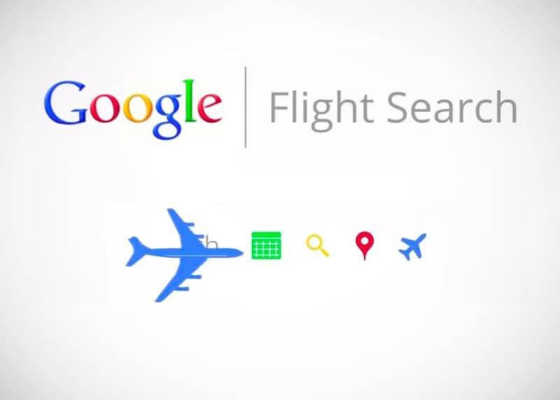 Fundo branco do logotipo colorido da Pesquisa de voos do Google