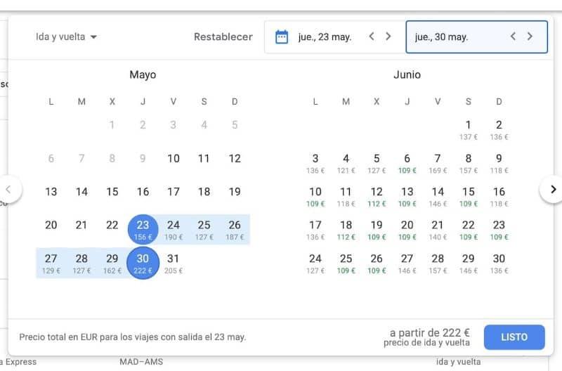 Detalhes da plataforma de voos do Google