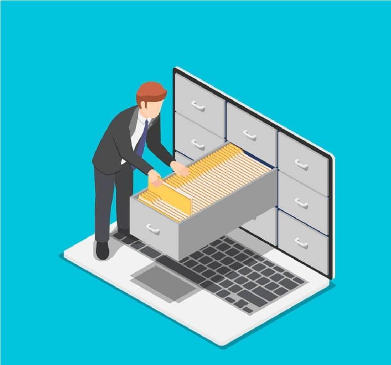 Ilustração de um homem procurando arquivos em um laptop