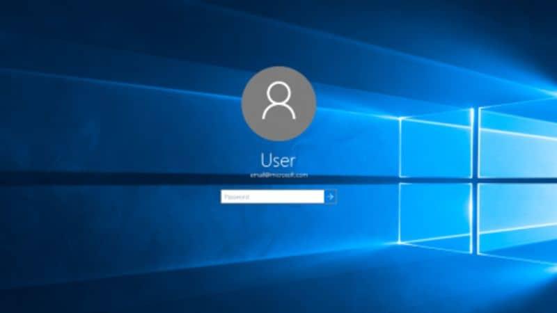 Fundo azul da janela de login do Windows 10