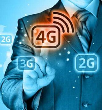 Mapa mundial de fundo e figura vários tipos de redes e um usuário com o dedo ativa a rede 4G