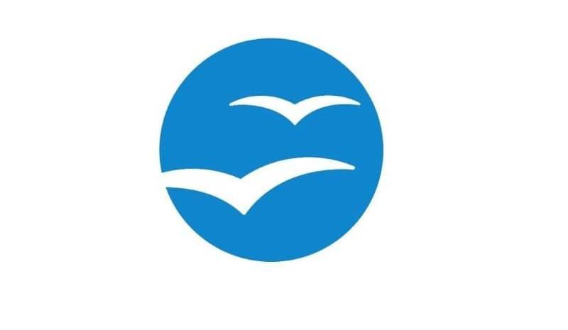 Fundo azul e branco do logotipo do OpenOffice