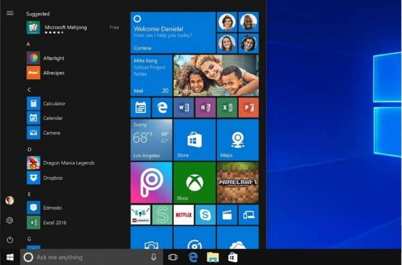 Tela do Windows 10