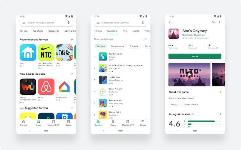 Capturas de tela em celulares da Google Play Store