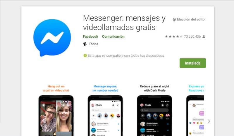 Messenger da Play Store no Facebook
