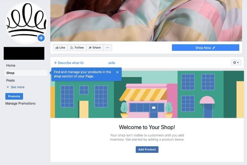 Janela de vendas do Facebook