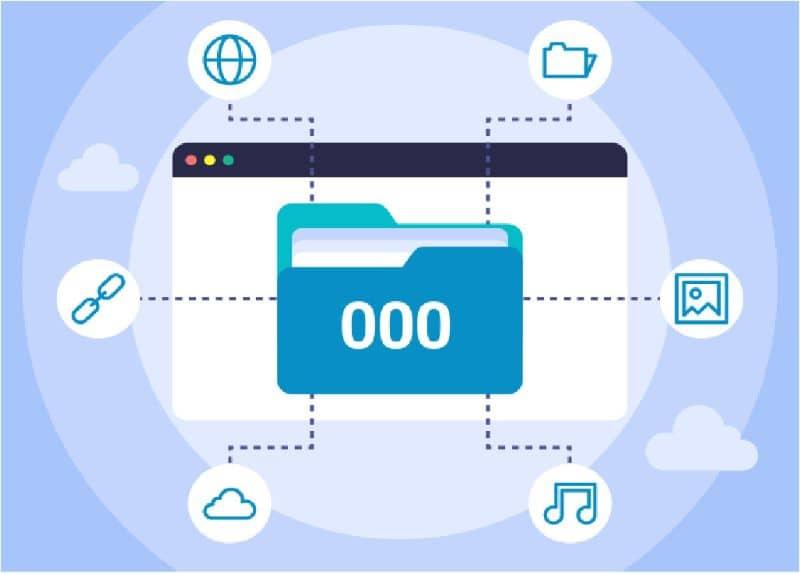 000 ícone de pasta conectado a outros ícones