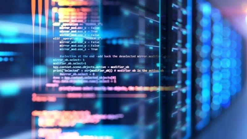 códigos e fundo abstrato azul
