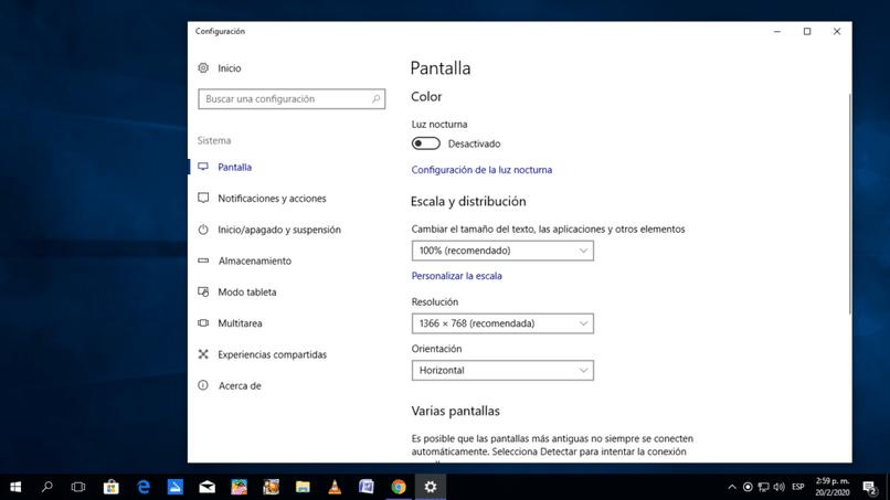 Configuração de tela do Windows 10
