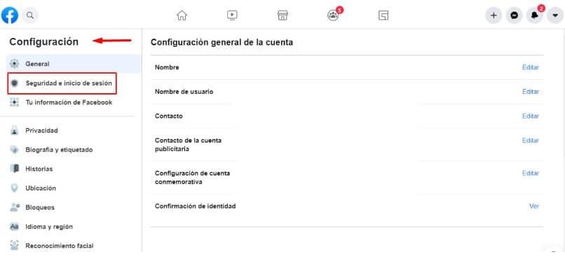 configurações de segurança e login do Facebook