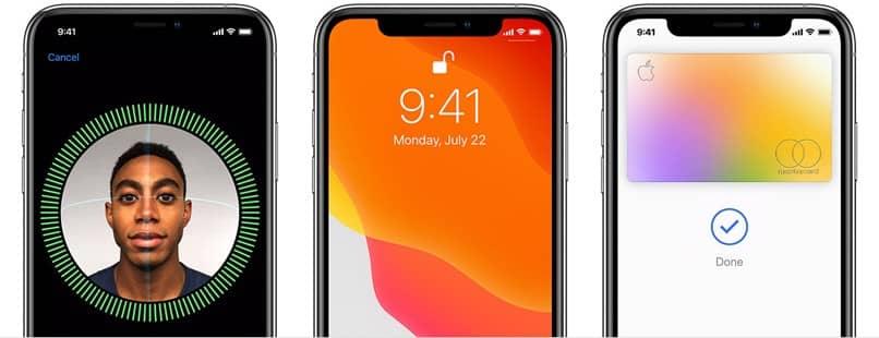 rosto id pantallas telefones