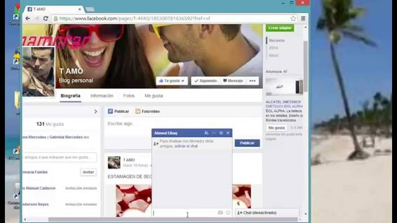 Perfil do Facebook e chat privado
