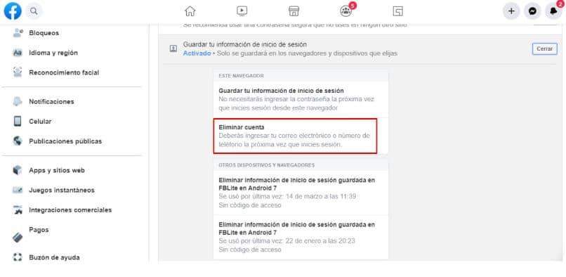 Facebook configurar conta