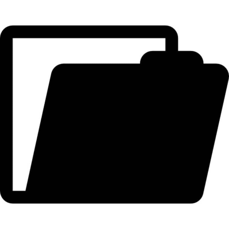 fundo preto e branco do ícone da pasta