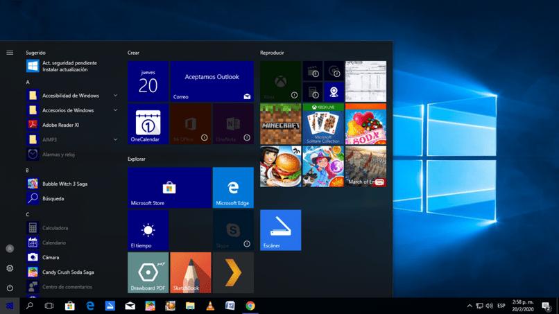 tela inicial do Windows 10