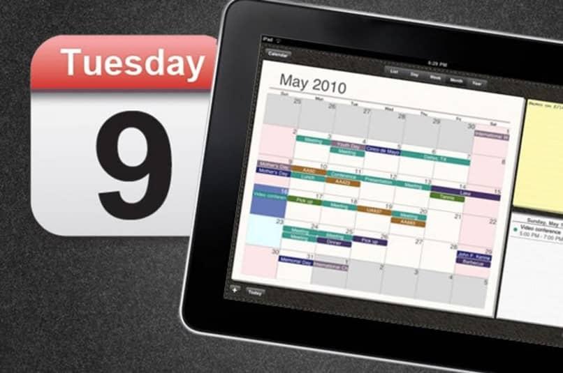 calendário do tablet
