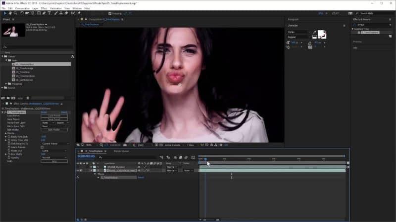 tela da área de trabalho após efeitos com a garota na tela