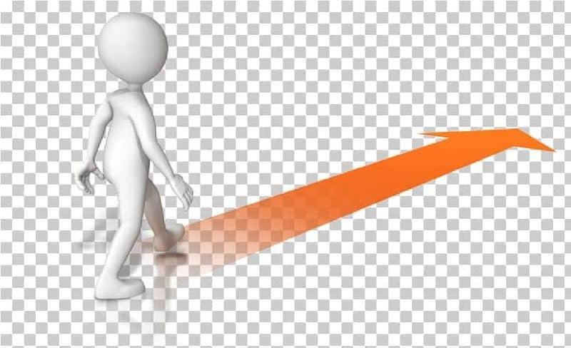 personagem caminhando seguindo uma linha laranja