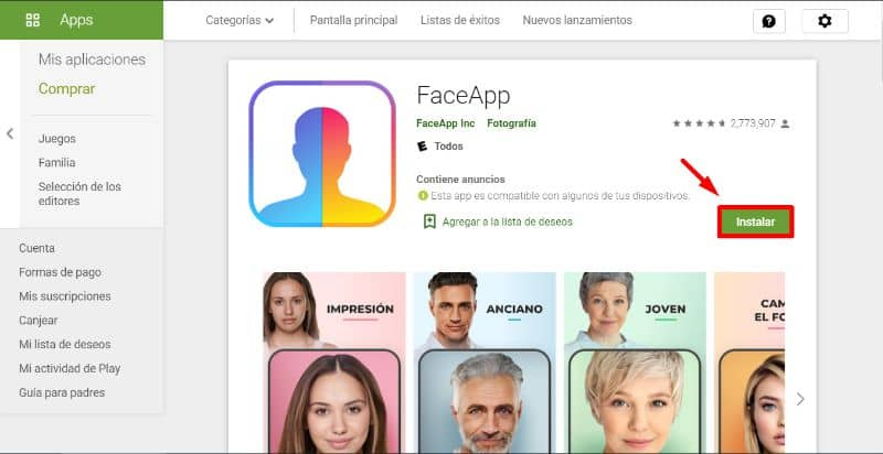 FaceApp Play Store