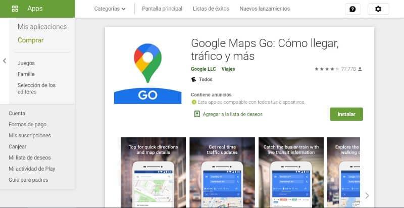 Google Maps Go, Play Store