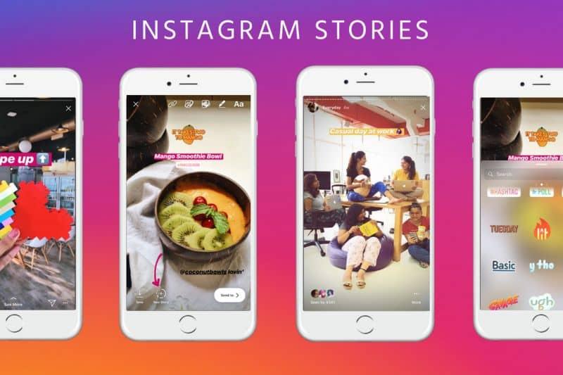 Telefones diferentes com fundo colorido do Instagram Stories