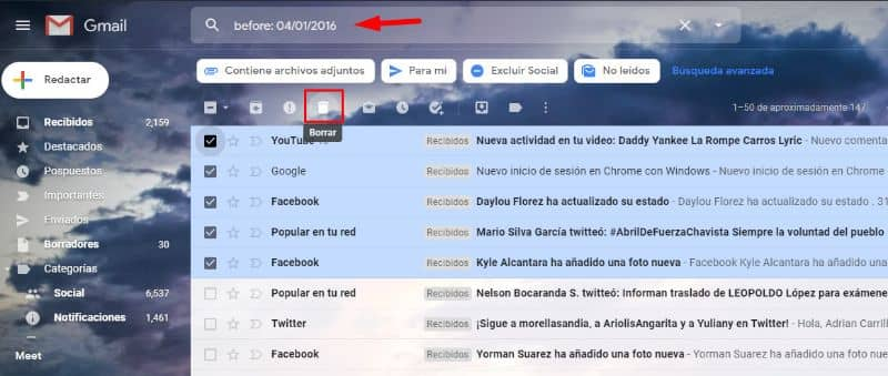 Tela do Gmail, exclua e-mails