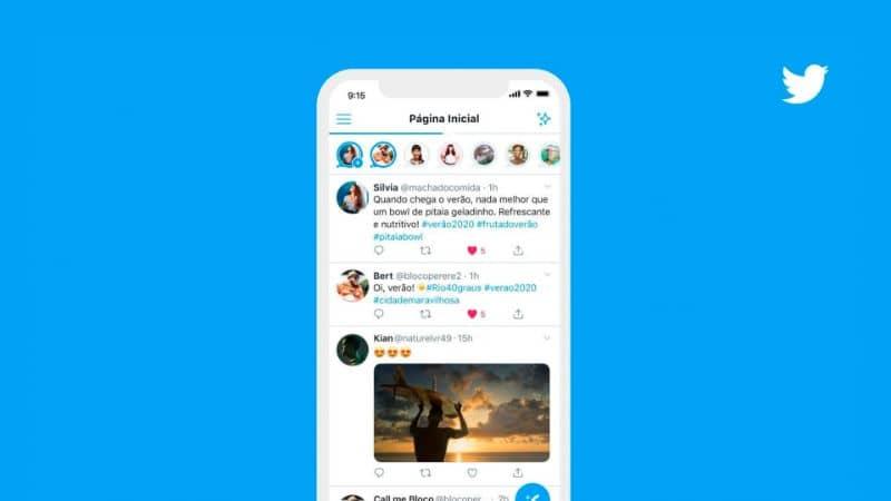 Android para celular com Tweets no Instagram Storie