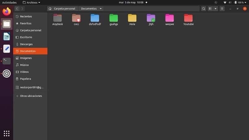 pastas várias cores ubuntu