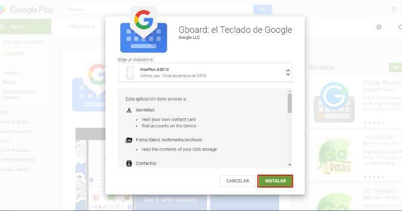 instale o teclado do google em um fundo desfocado