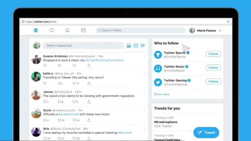 aplicativo tablet ponteiro seta azul do fundo do twitter