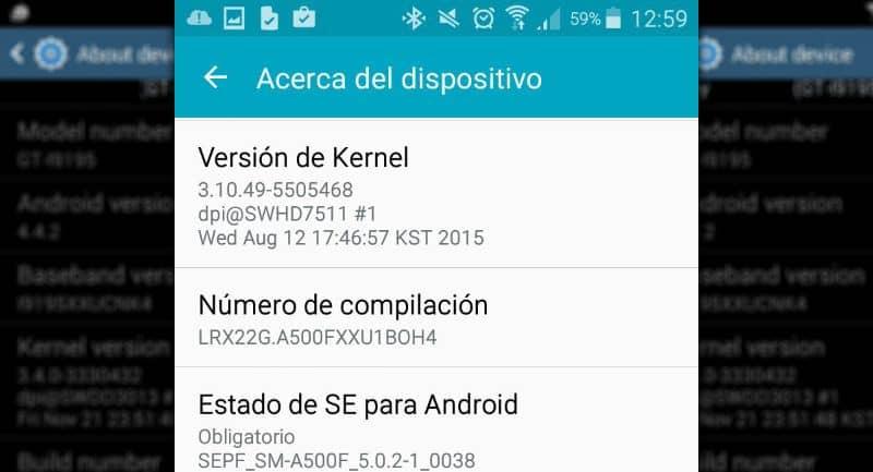 Versão do kernel no dispositivo