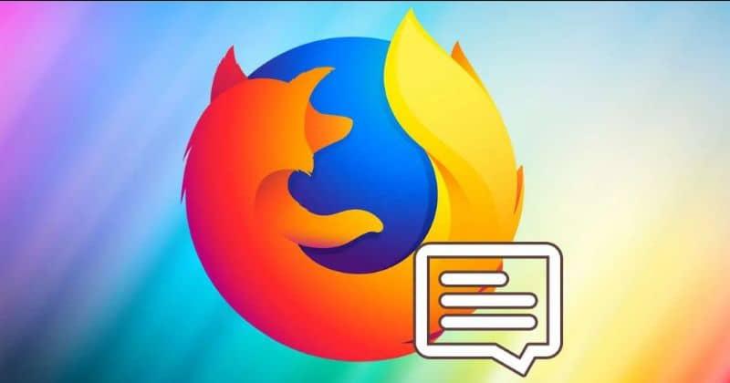 Logotipo do Firefox, notificações