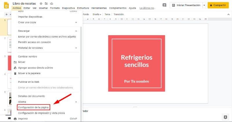 Menu de configuração do Google Docs