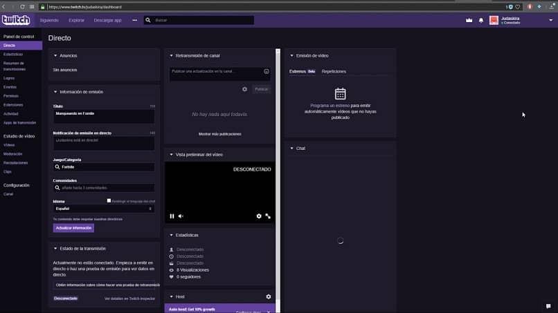 Configurar painel de controle twitch