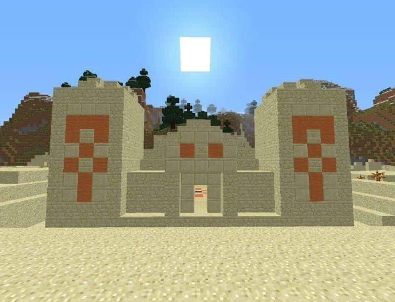 construção no deserto em minecraft