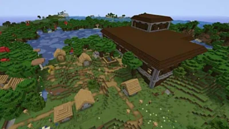 vista aérea de aldeias em minecraft