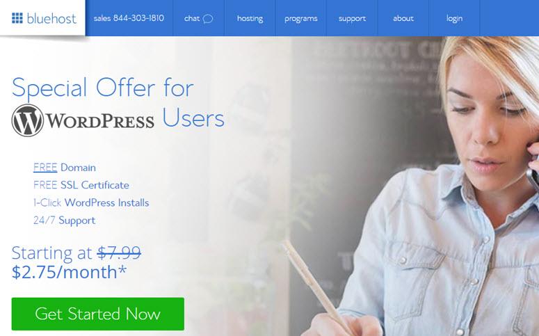 criar um site no bluehost