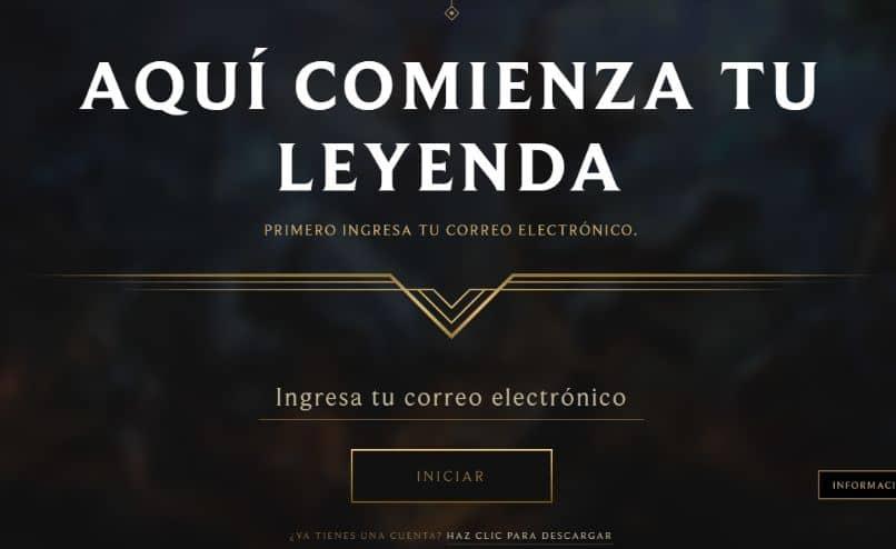 iniciar jogo league of legends fundo preto