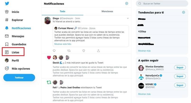 criar listas do twitter