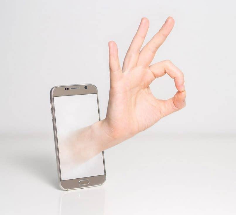 ok senal de mano celular