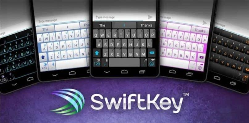 fundo roxo swiftkey do teclado móvel