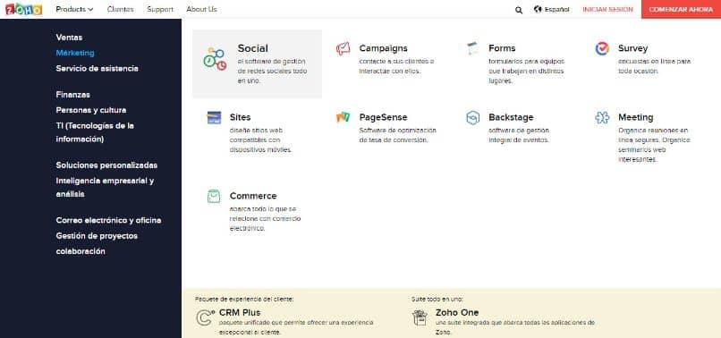 home page zoho mail fundo branco