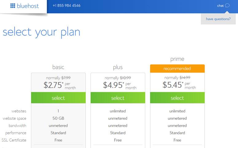 selecione um plano bluehost para iniciar um site