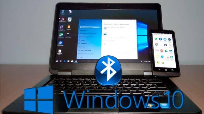 Laptop e celular, logotipo Bluetooh, Windows 10