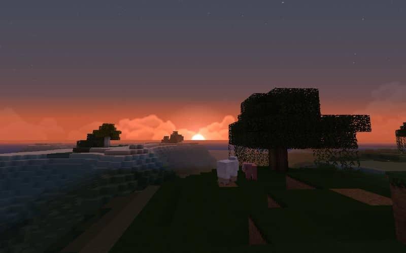 pôr do sol em minecraft e árvores
